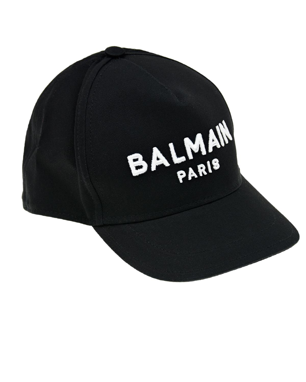 Купить Черная бейсболка с белым логотипом Balmain детская, Нет цвета, 100% хлопок