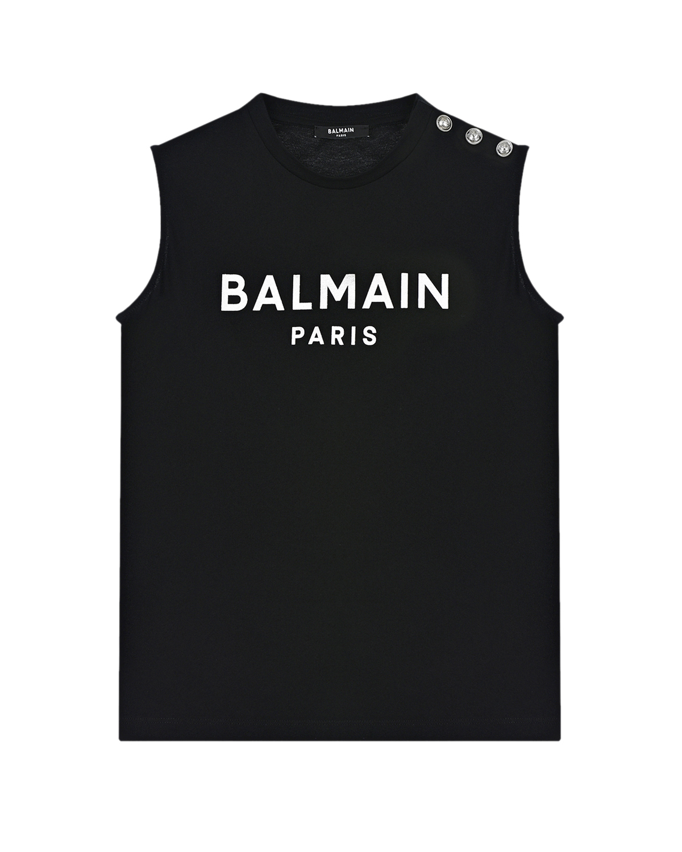 Купить Черная футболка без рукавов Balmain детская, Нет цвета, 100%хлопок