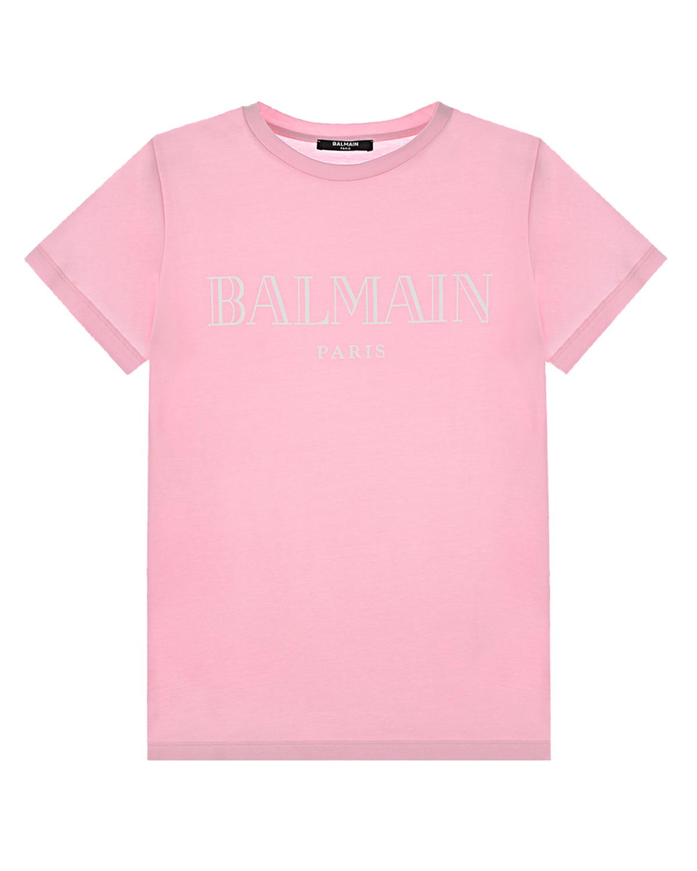 Купить Розовая футболка с белым логотипом Balmain детская, Нет цвета, 100%хлопок