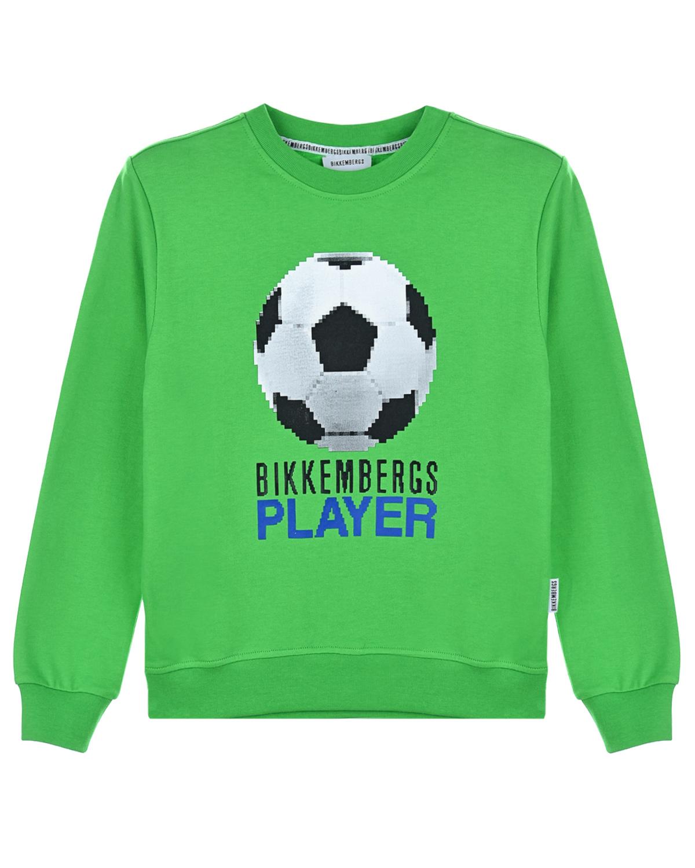 Купить Зеленый свитшот с принтом Футбольный мяч Bikkembergs детский, 100%хлопок