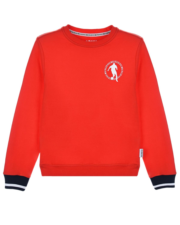 Купить Красный свитшот с логотипом Bikkembergs детский, 100%хлопок