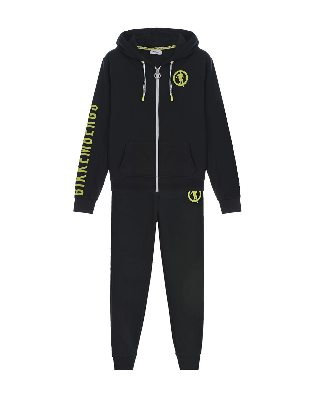 Купить Черный спортивный костюм с зеленым логотипом Bikkembergs детский, 100%хлопок