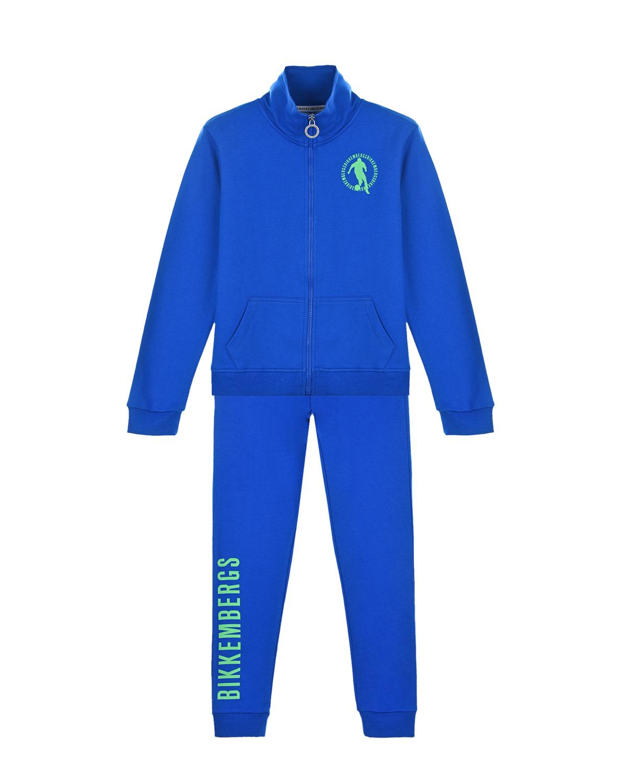 Купить Синий спортивный костюм с зеленым логотипом Bikkembergs детский, 100%хлопок