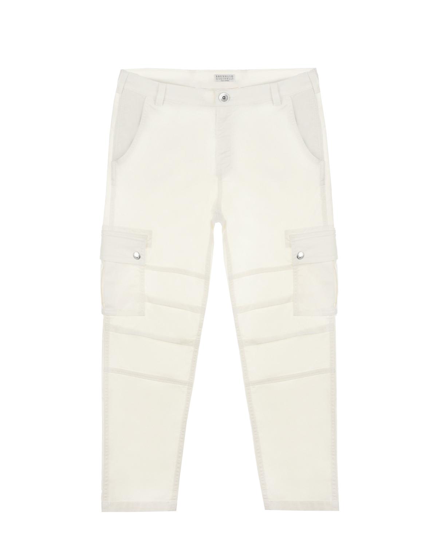Купить Белые брюки с накладными карманами Brunello Cucinelli детские, Белый, 97%хлопок+3%эластан, 100%хлопок, 58%хлопок+42%полиэстер