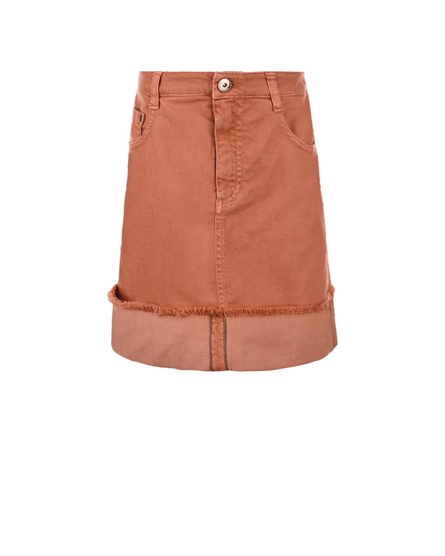 Купить Оранжевая джинсовая юбка Brunello Cucinelli детская, Оранжевый, 66%хлопок+32%лиоцелл+2%эластан, 100%хлопок, 100%нат.кожа