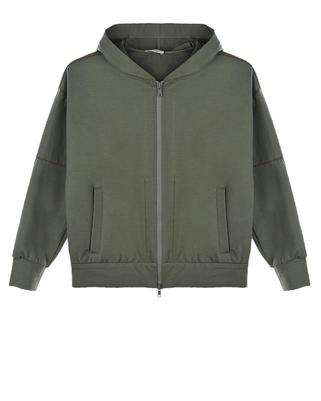 Спортивная куртка цвета хаки Brunello Cucinelli детская, Хаки, 98%хлопок+2%эластан  - купить со скидкой