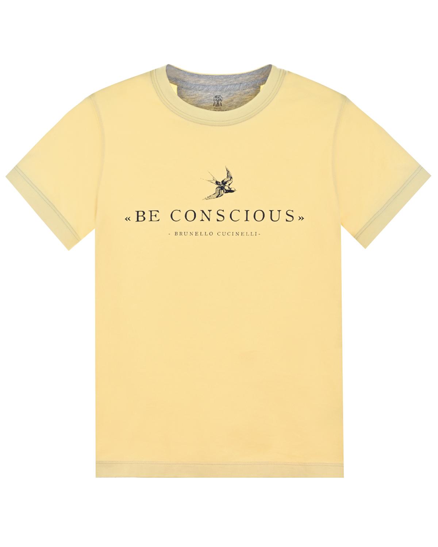 Купить Желтая футболка с принтом be conscious Brunello Cucinelli детская, Желтый, 100%хлопок