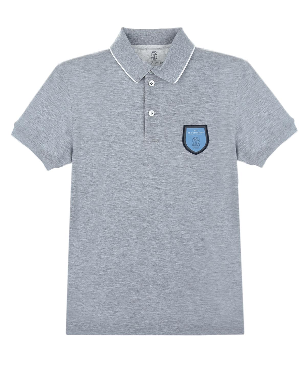 Купить Серая футболка-поло Brunello Cucinelli детская, Серый, 100%хлопок