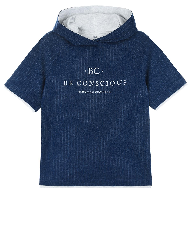 Купить Синяя толстовка-худи в полоску Brunello Cucinelli детская, Синий, 100%хлопок