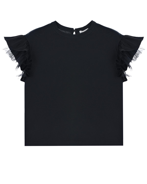 Купить Черная футболка с рукавами-крылышками Brunello Cucinelli детская, Черный, 100%хлопок, 72%хлопок+23%полиамид+5%эластан, 100%полиамид