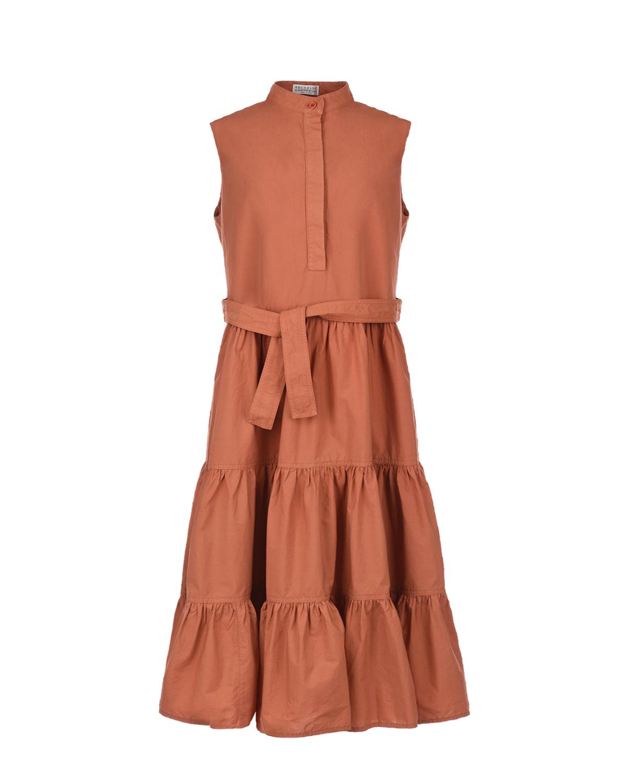 Купить Коричневое платье с поясом Brunello Cucinelli детское, Красный, 100%хлопок
