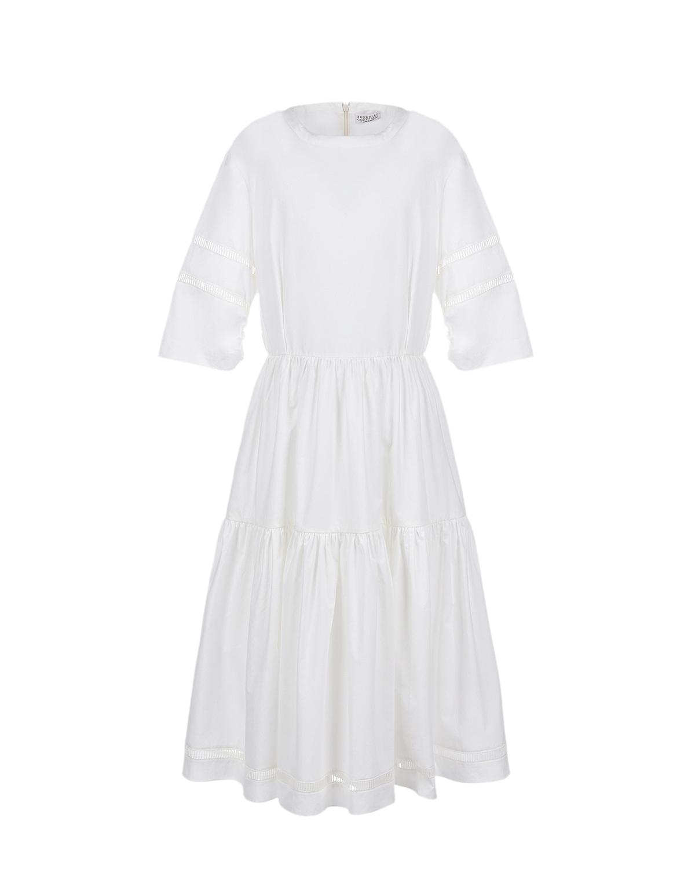 Купить Белое приталенное платье Brunello Cucinelli детское, Белый, 100%хлопок