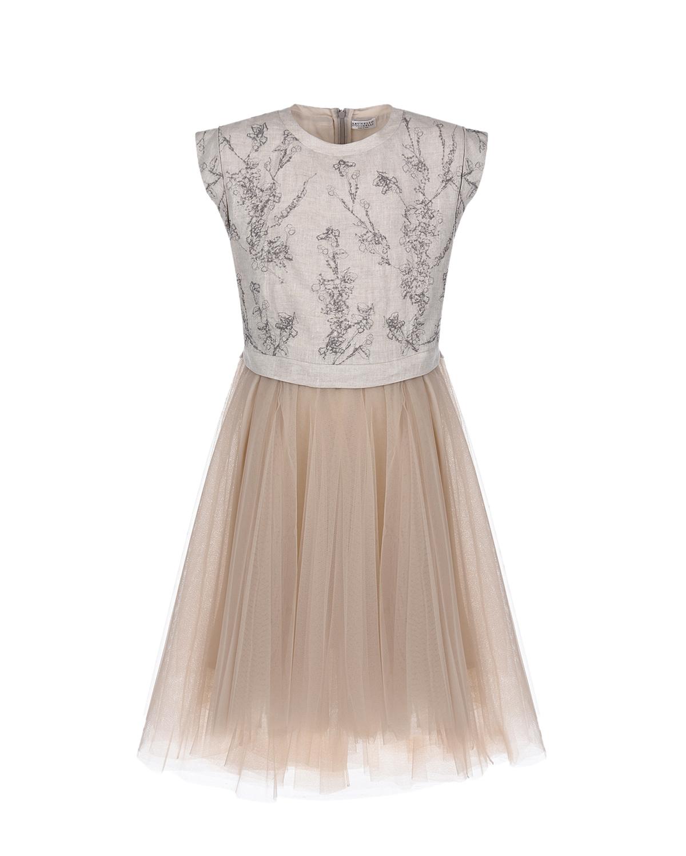 Купить Платье с цветочным принтом Brunello Cucinelli детское, Нет цвета, 100%лен, 100%полиэстер, 100%полиамид, 74%ацетат+26%шелк