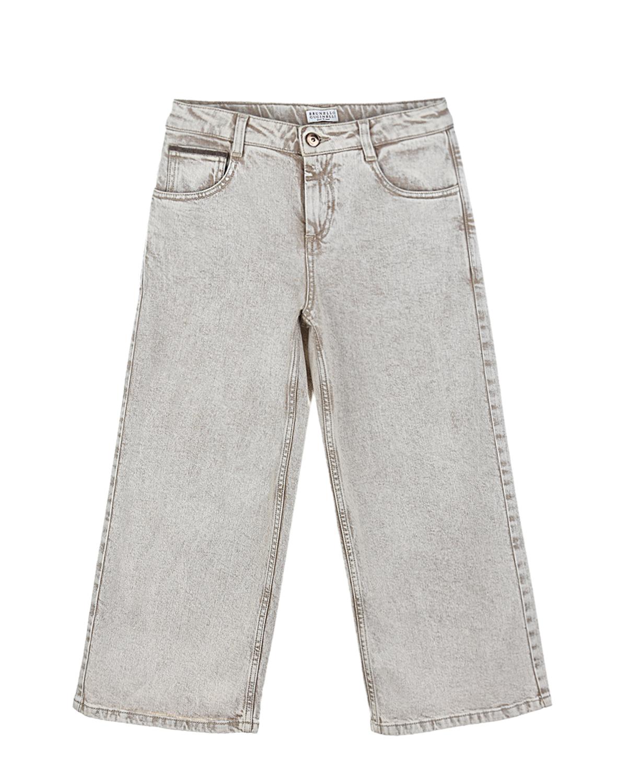 Купить Укороченные джинсовые брюки Brunello Cucinelli детские, Кремовый, 98%хлопок+2%эластан, 100%хлопок, 100%кожа