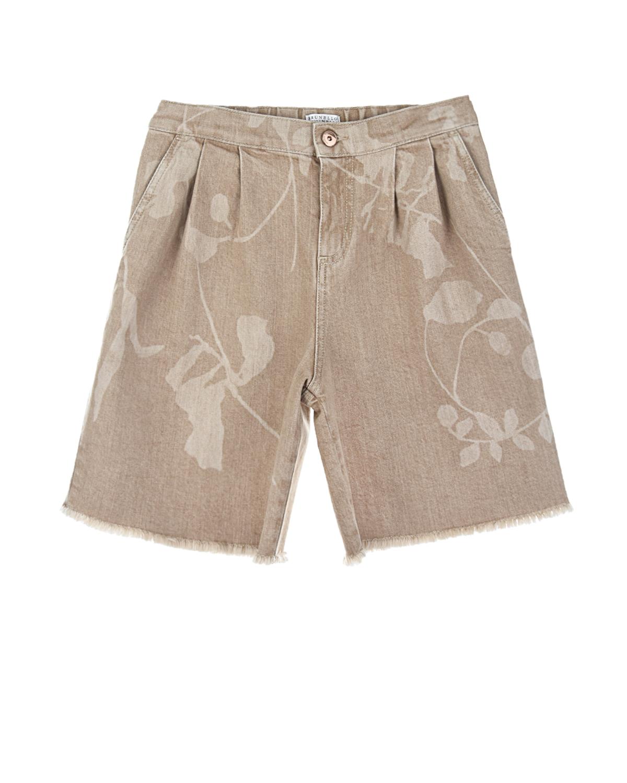 Купить Бежевые джинсовые бермуды Brunello Cucinelli детские, Бежевый, 98%хлопок+2%эластан, 100%хлопок