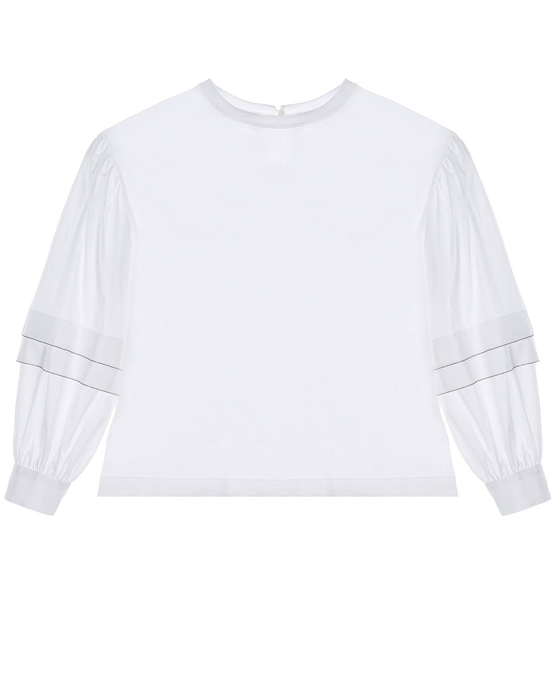 Купить Белая блуза полосками на рукавах Brunello Cucinelli детская, Белый, 100%хлопок, 72%хлопок+23%полиамид+5%эластан