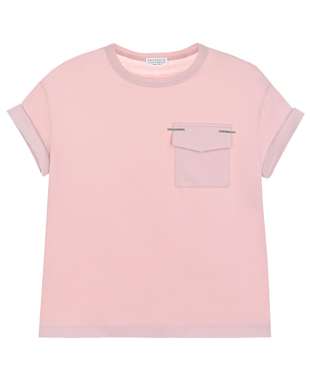 Розовая футболка с накладным карманом Brunello Cucinelli детская, Розовый, 100%хлопок  - купить со скидкой