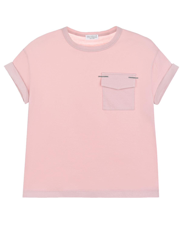 Купить Розовая футболка с накладным карманом Brunello Cucinelli детская, Розовый, 100%хлопок