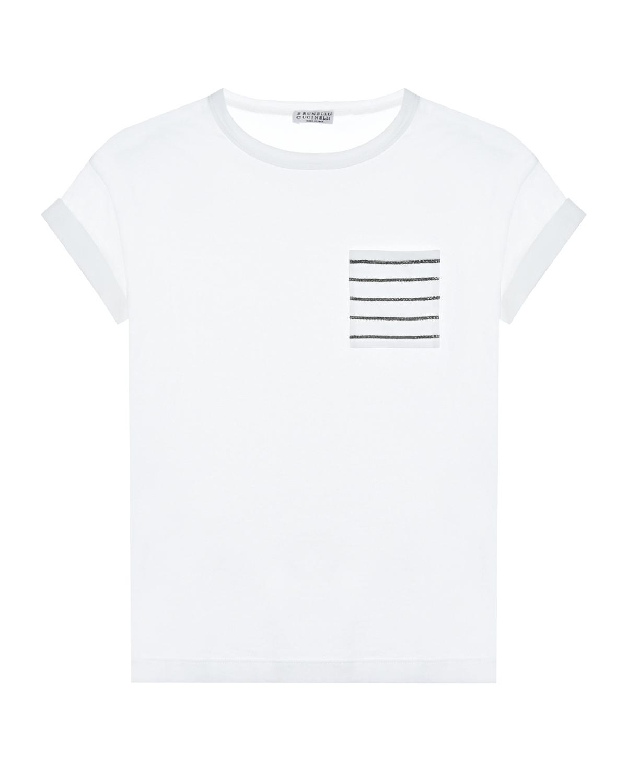 Купить Белая футболка с карманом в полоску Brunello Cucinelli детская, Белый, 100%хлопок