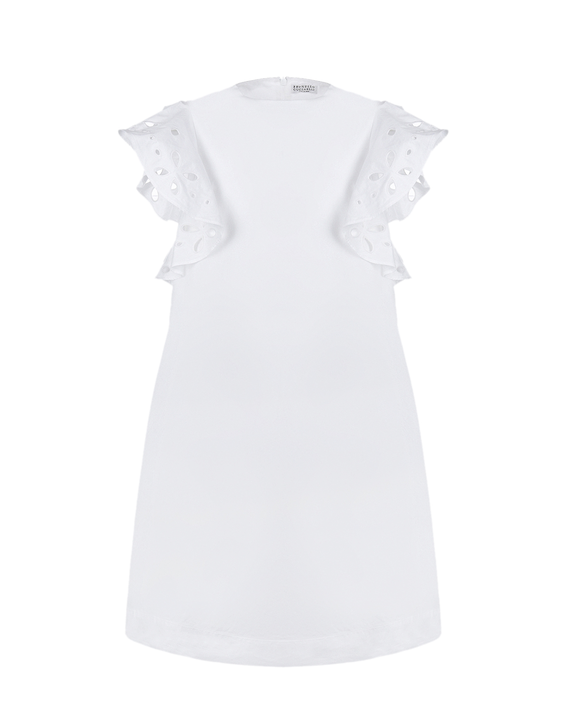 Белое платье с рукавами-крылышками Brunello Cucinelli детское, Белый, 100%хлопок  - купить со скидкой