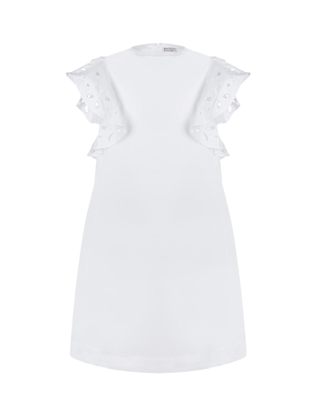 Купить Белое платье с рукавами-крылышками Brunello Cucinelli детское, Белый, 100%хлопок