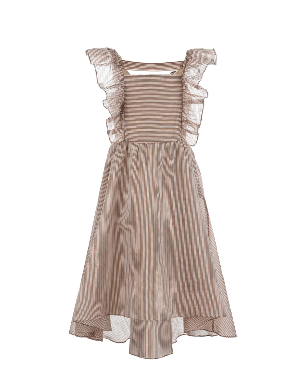 Купить Бежевое платье с рюшами Brunello Cucinelli детское, Бежевый, 76%хлопок+24%шелк, 100%хлопок