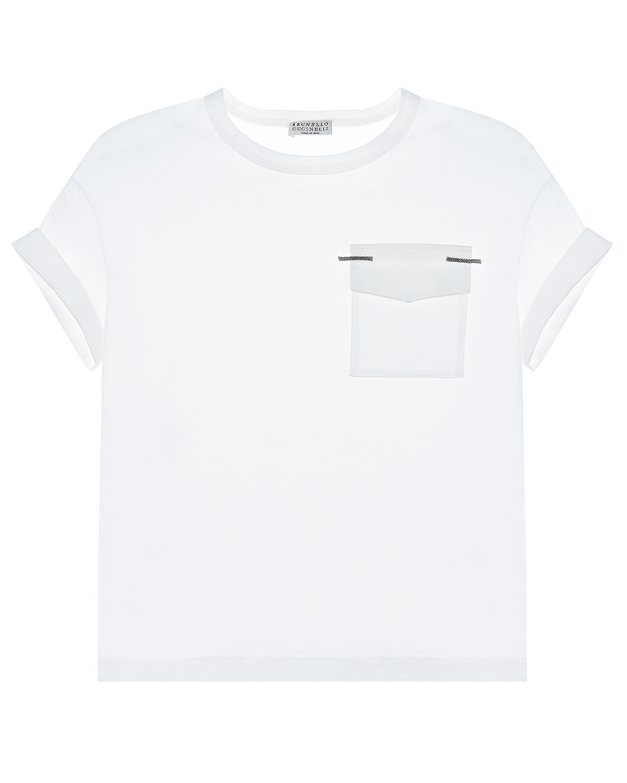 Купить Белая футболка с накладным карманом Brunello Cucinelli детская, Белый, 100%хлопок