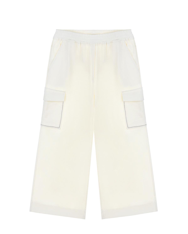 Купить Кремовые брюки с карманами-карго Brunello Cucinelli детские, Кремовый, 98%хлопок+2%эластан