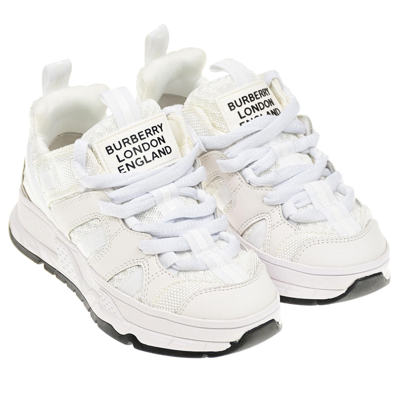 Купить Белые кроссовки на шнуровке Union Burberry детские, Белый, Верх:100% полиэстер, Подкладка:100% кожа, Стелька:%3, Подошва:100% резина