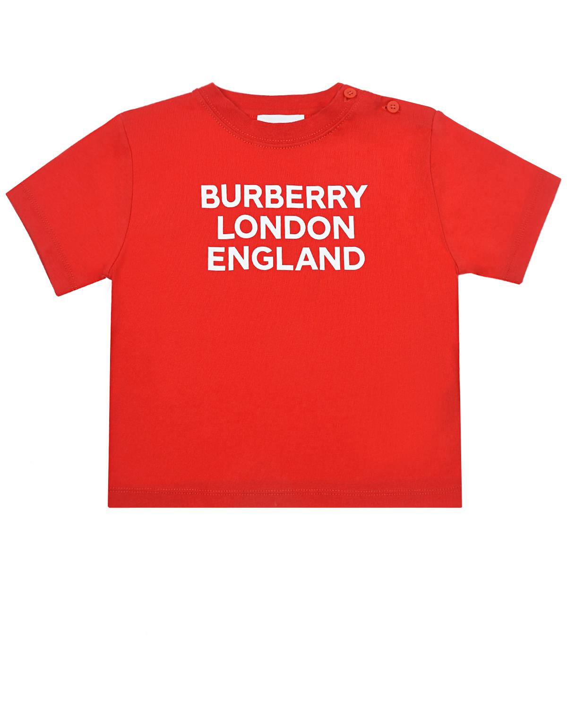 Купить Красная футболка с белым логотипом Burberry детская, Красный, 100% хлопок