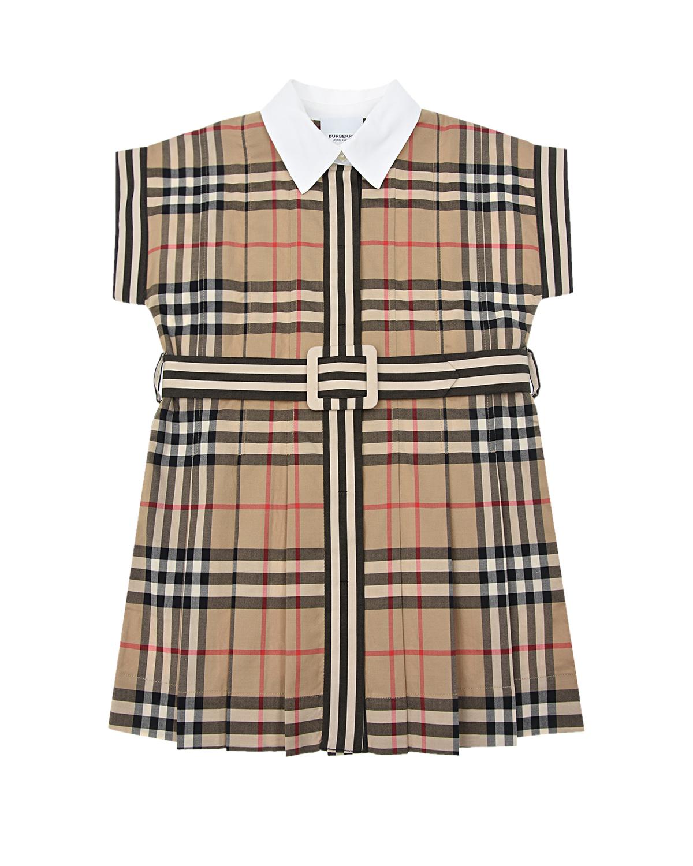Купить Бежевое платье с принтом vintage check Burberry детское, Бежевый, 100%хлопок