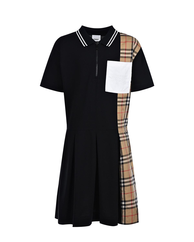 Купить Черное платье-поло Burberry детское, Черный, 100%хлопок, 95%хлопок+5%эластан, 90%хлопок+9%полиэстер+1%эластан
