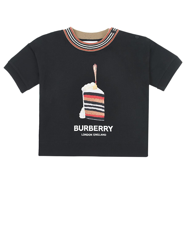 Купить Черная футболка с принтом Cake Burberry детская, Черный, 100% хлопок