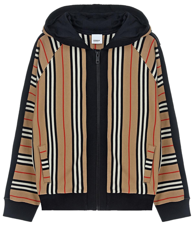 Купить Бежевая спортивная куртка в полоску Burberry детская, Бежевый, 100% хлопок