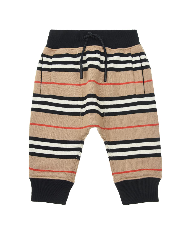 Купить Спортивные брюки с принтом в полоску Burberry детские, Бежевый, 100% хлопок
