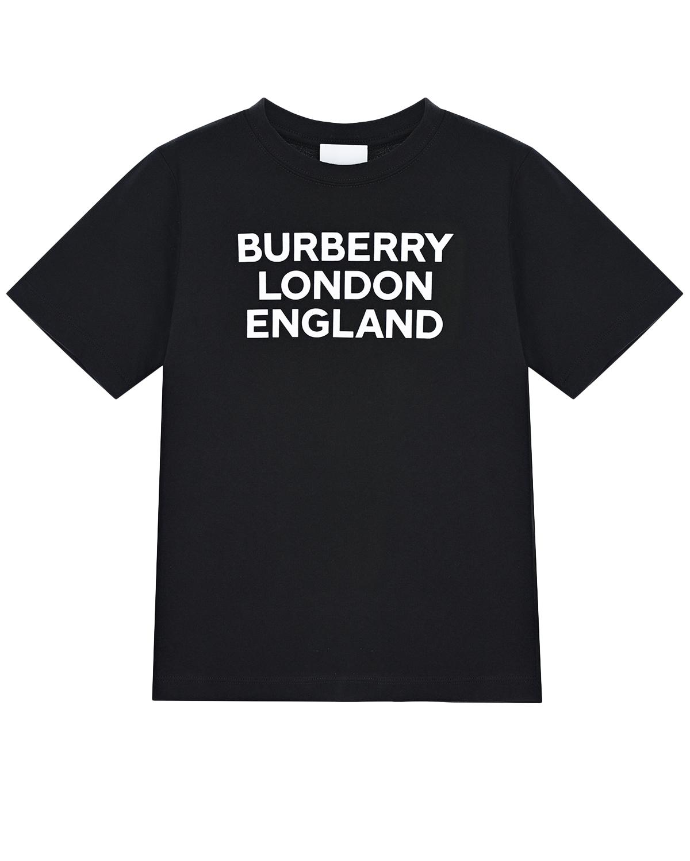 Купить Черная футболка с белым принтом burberry london england детская, Черный, 100% хлопок, 97%хлопок+3%эластан