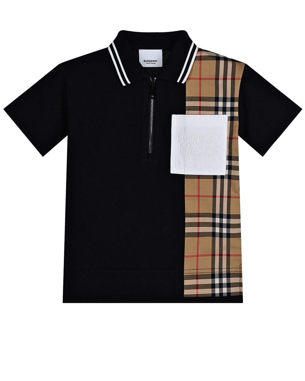 Купить Черная футболка-поло со вставкой в клетку Burberry детская, Черный, 100% хлопок, 95%хлопок+5%эластан, 90%хлопок+9%полиэстер+1%эластан