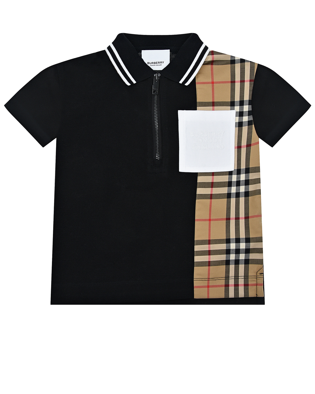 Купить Черная футболка-поло со вставкой в клетку Burberry детская, Черный, 100% хлопок, 95%хопок+5%эластан, 90%хлопок+9%полиэстер+1%эластан