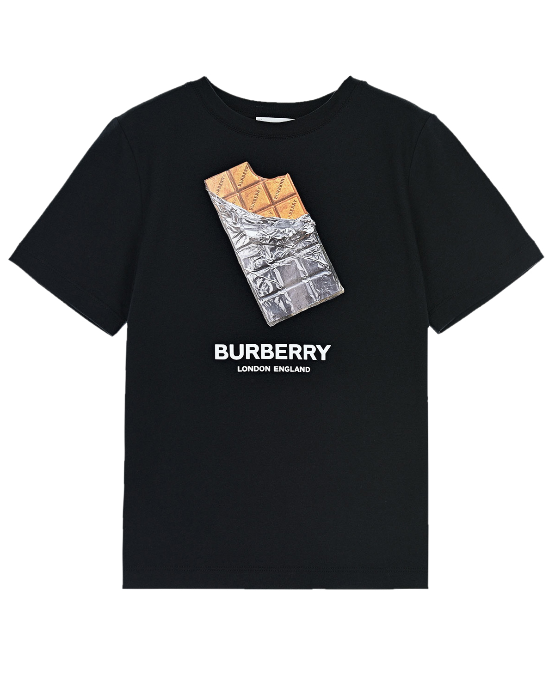 Купить Черная футболка с принтом Confectionery Burberry детская, Черный, 100% хлопок