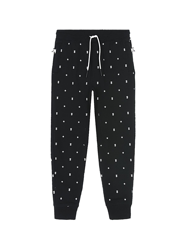 Купить Черные спортивные брюки с монограммой Burberry детские, Черный, 100% хлопок
