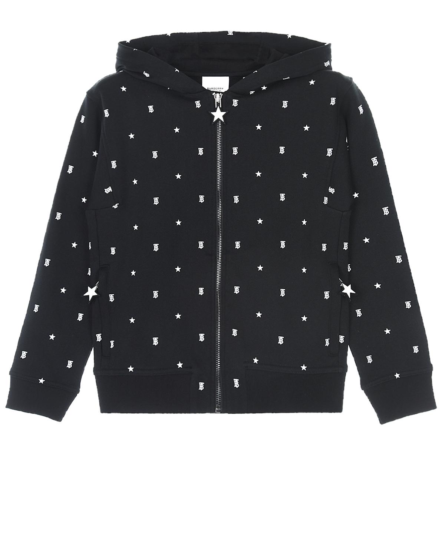 Купить Черная спортивная куртка с принтом монограмма Burberry детская, Черный, 100% хлопок
