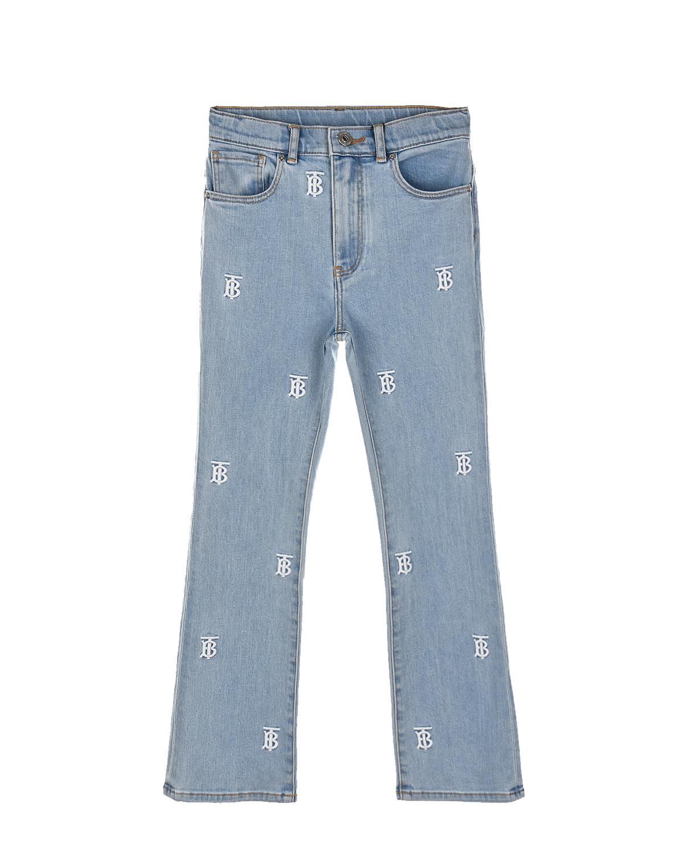 Голубые джинсы с монограммой Burberry детские, Голубой, 98%хлопок+2%эластан  - купить со скидкой
