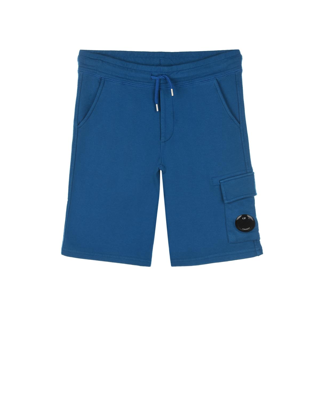 Купить Синие бермуды с накладным карманом CP Company детские, Синий, 100%хлопок