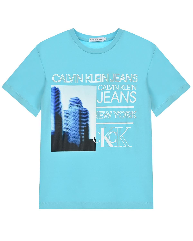 Купить Голубая футболка с принтом Нью-Йорк Calvin Klein детская, Голубой, 100%хлопок
