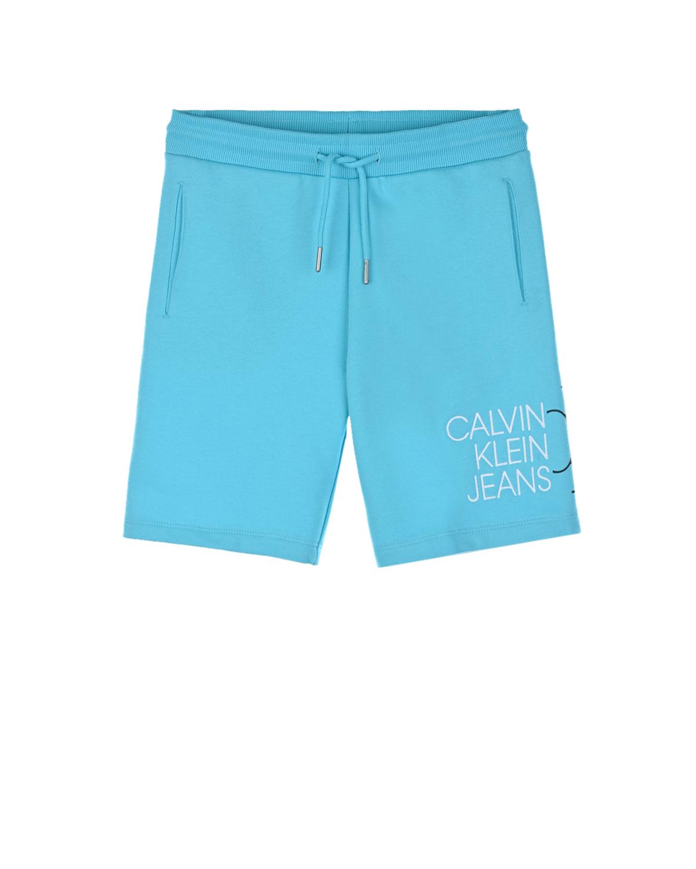 Купить Голубые бермуды с белым логотипом Calvin Klein детские, Голубой, 100% хлопок, 98% хлопок+2% эластан