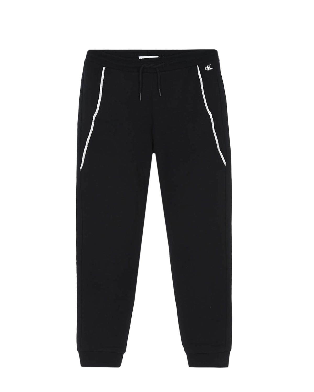 Купить Спортивные брюки с брендированным кантом Calvin Klein детские, Черный, 100%хлопок, 98%хлопок+2%эластан