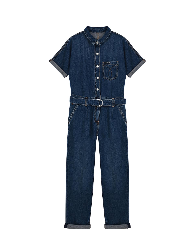 Купить Джинсовый комбинезон на пуговицах Calvin Klein детский, Синий, 100%хлопок