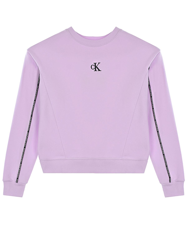 Купить Сиреневый свитшот с логотипом Calvin Klein детский, Нет цвета, 100%хлопок, 95%хлопок+5%эластан