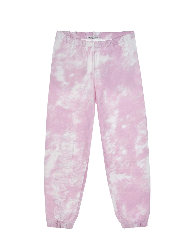 Купить Розовые спортивные брюки с принтом тай-дай Calvin Klein детские, Мультиколор, 100%хлопок