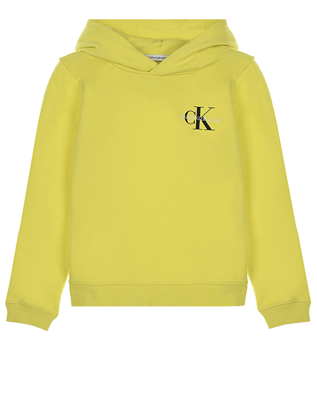 Желтая толстовка-худи с капюшоном Calvin Klein детская